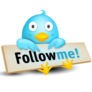 twitter bird holds follow me sign