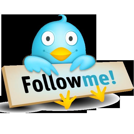 twitter bird holds follow me sign