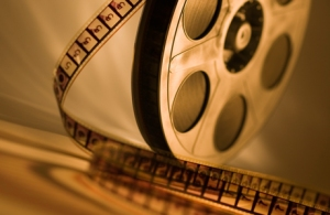 16mm Movie Reel with Film Teased Out