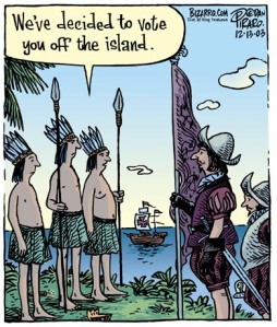 Chris Columbus Voted off the Island Bizarro Cartoon