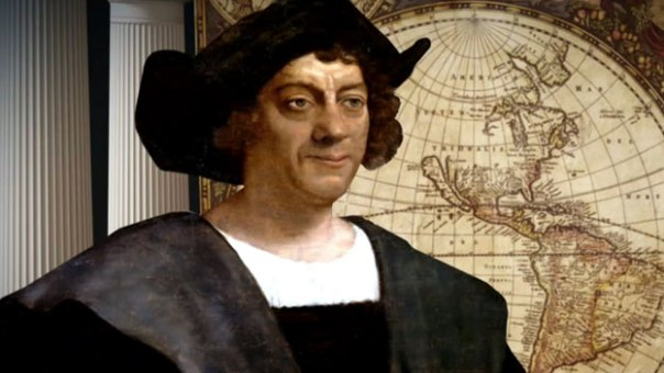 Christopher Columbus Portrait with Map Background
