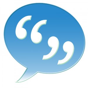 quotation marks in a light blue speech balloon