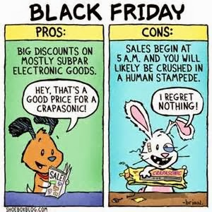 Black Friday Pros and Cons Cartoon