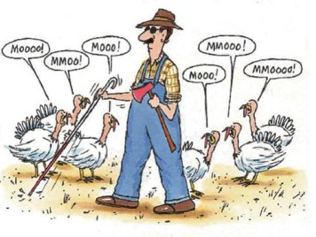 Blind Turkey Farmer Cartoon