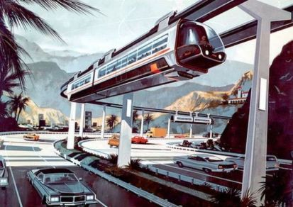 1960s era Futuristic Monorail and Automobile Highway