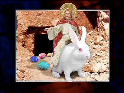 Jesus riding the Easter Bunny